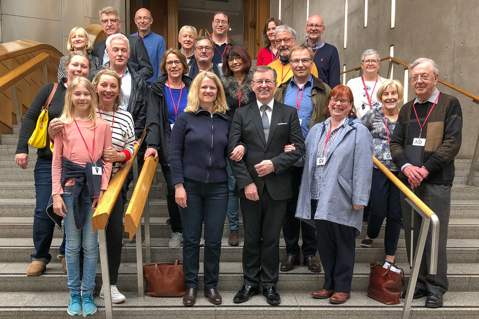 Rotarians on the steps inside the Scottish Parliament